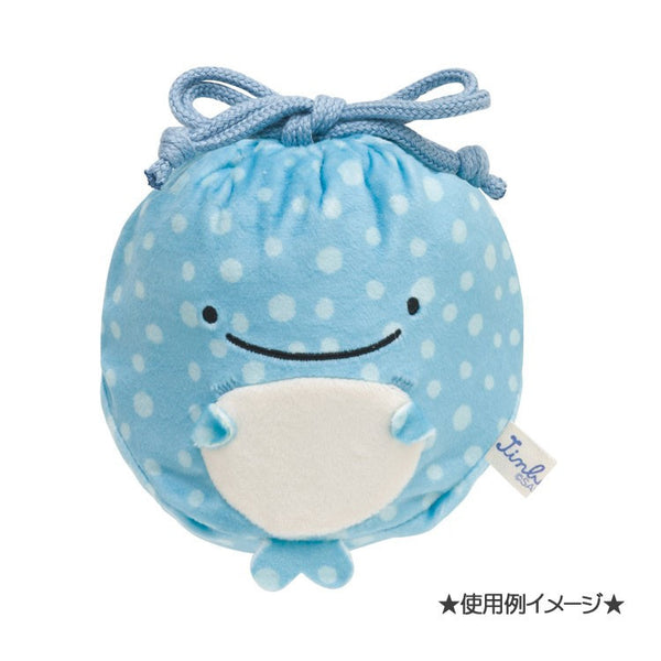 Jinbei San Whale Shark mini Plush Drawstring Bag Pouch San-X Japan