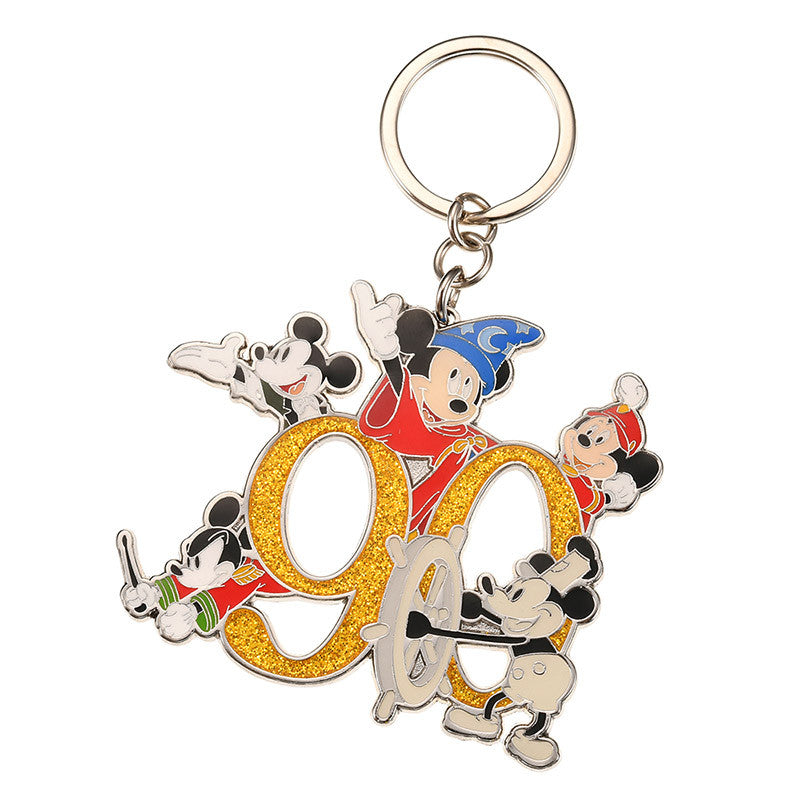 Keychain Key Holder Mickey Mouse 90th Anniversary Star Disney Store Japan