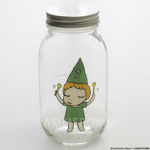 Yoshitomo Nara Glass Storage Jar L Girl 2 Green Japan Art