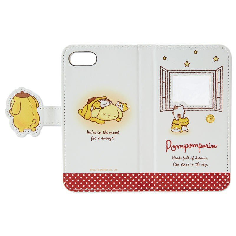 Pom Pom Purin iPhone 7 8 Case Cover Flip Stay Up Late Sanrio Japan