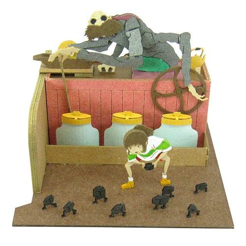 Spirited Away Kamaji & Sen Miniature Art Paper Craft Non-Scale Kit Ghibli Japan
