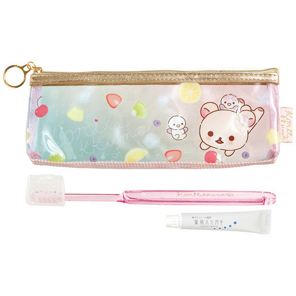 Toothbrush Tooth Paste Pouch Set Korilakkuma Vacation San-X Japan Rilakkuma