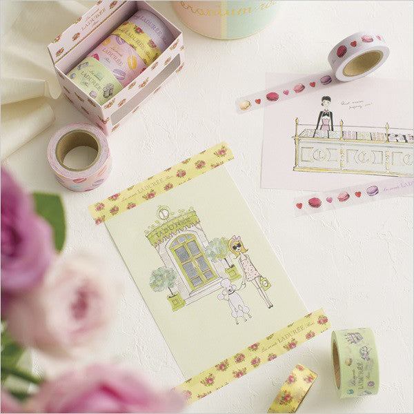 Laduree Japan Macaron Masking Tape Sticker Set 4 w/ Box Mint Green