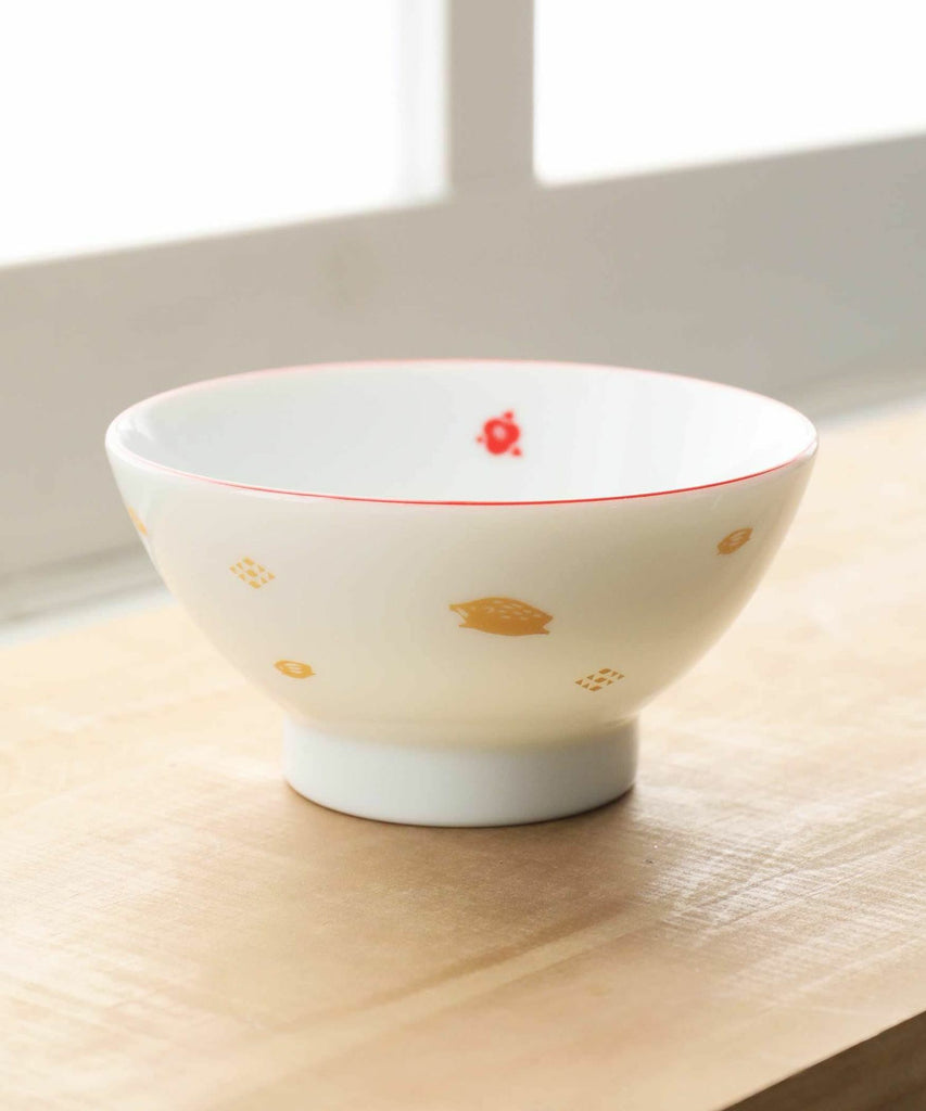Bowl Zodiac Boar Red Afternoon Tea Japan