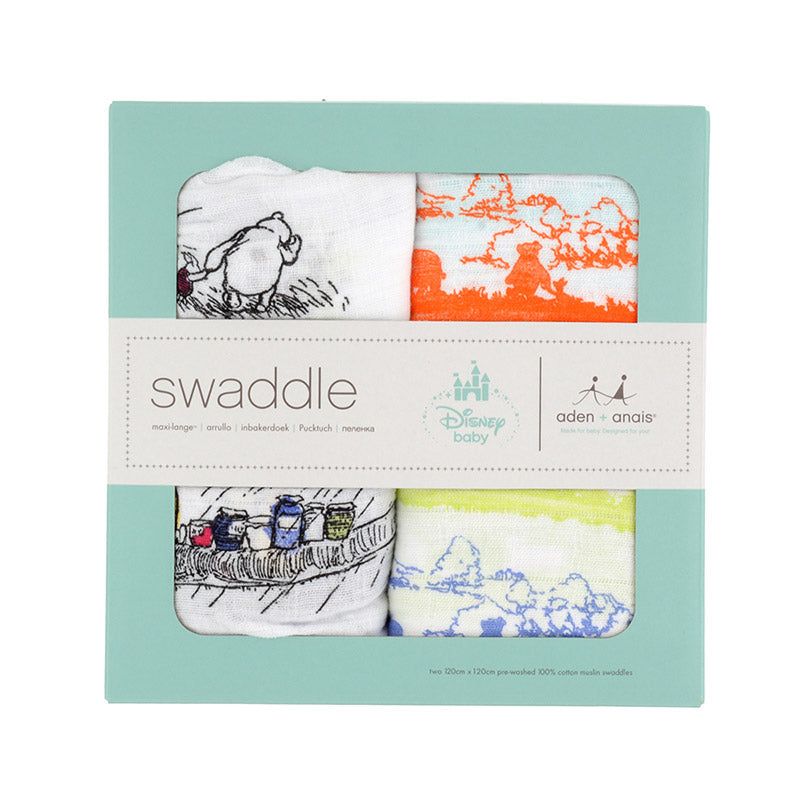 Winnie the Pooh Baby Swaddle Blanket 2pcs Set aden+anais Disney Store Japan