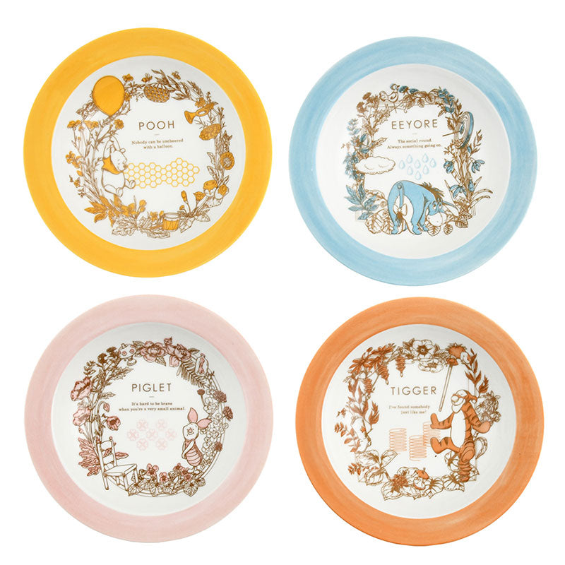 Winnie the Pooh & Friends Porcelain Plate 4pcs Set Botanical Disney Store Japan
