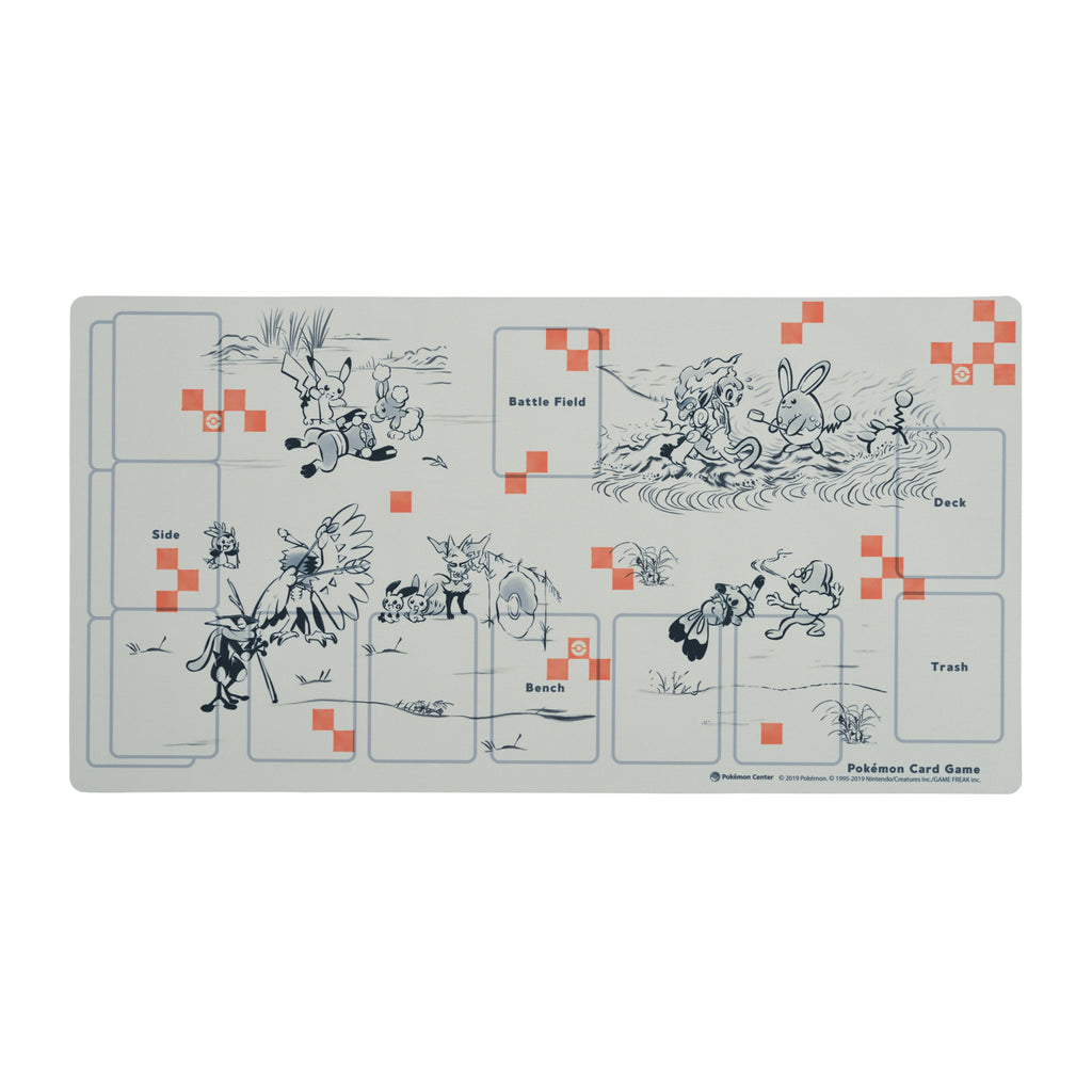 Play Mat for Pokemon Card Game Ink painting Caricature Japan