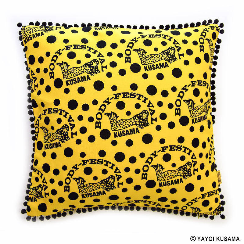Cushion BODY FESTIVAL Yellow Black Yayoi Kusama Japan Artist Pumpkin