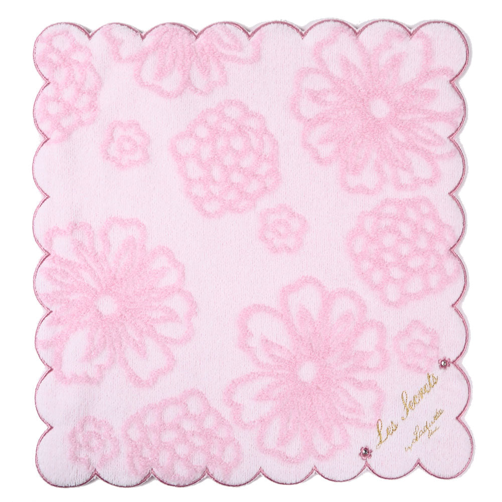 Embroidery Towel Handkerchief Jacquard Flower Power Pink Laduree Japan