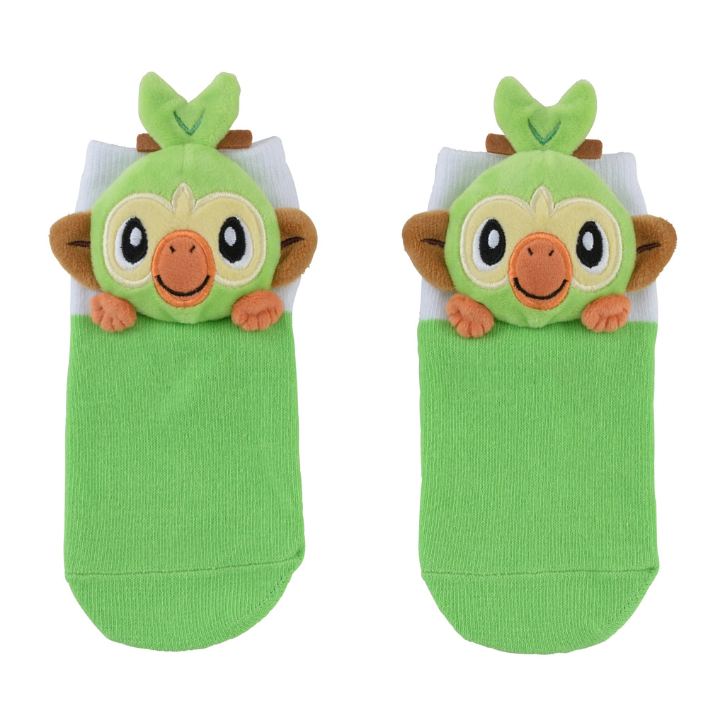 Grookey Sarunori Short Sock with Plush Mascot Pokemon Center Japan Kids 13-18cm