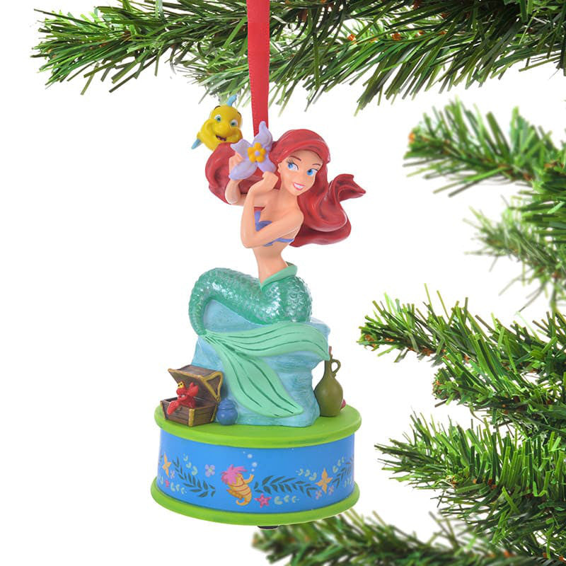Ariel Flounder Sebastian Christmas Tree Ornament Singing Disney Store Japan 2018
