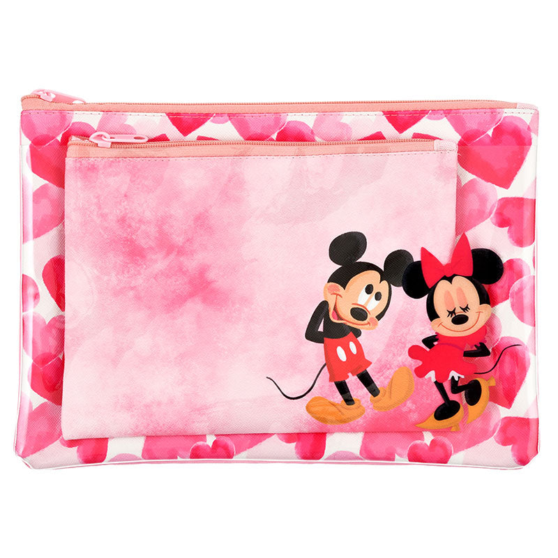 Mickey & Minnie Flat Pouch Set Valentine 2020 Disney Store Japan