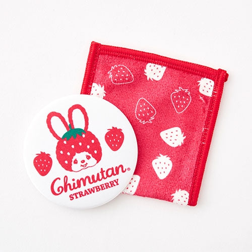 Chimutan Mirror with Cleaner Case Strawberry Monchhichi Japan 2019