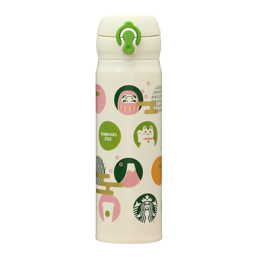Starbucks Japan New Year 2020 Handy Stainless Bottle Icons Green 500ml Thermos