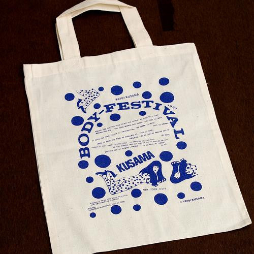 Yayoi Kusama Canvas Tote Bag BODY FESTIVAL Blue Pumpkin Japan Artist