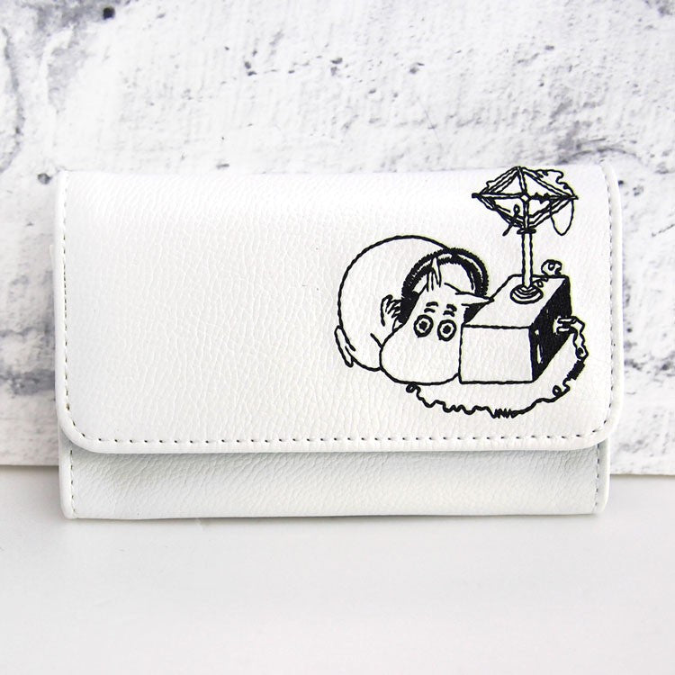 Moomin Business Card Case Embroidery White Moomin Japan