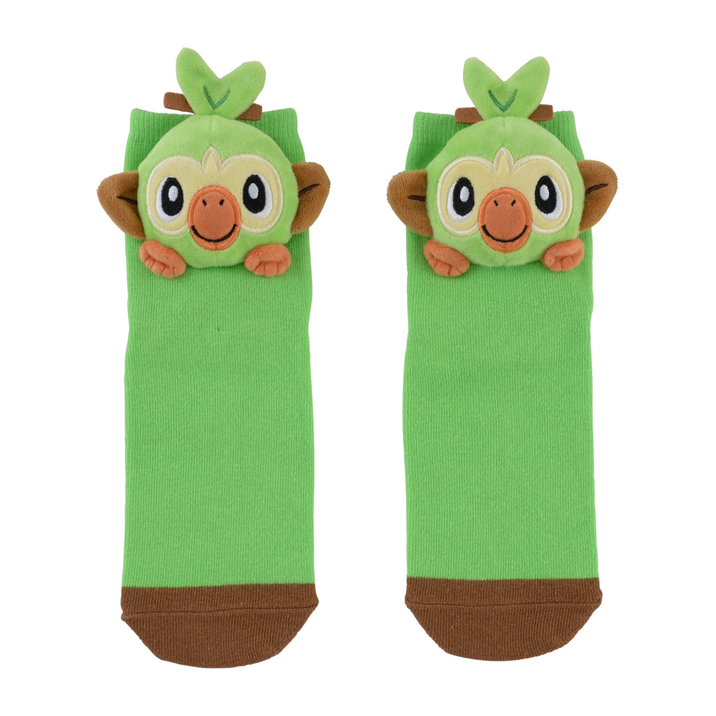 Grookey Sarunori Short Sock with Plush Mascot Pokemon Center Japan 23-25cm