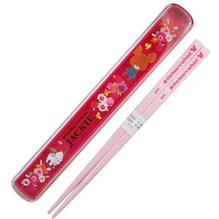 Jackie Chopsticks 18cm with Case Pink the bears' school Japan