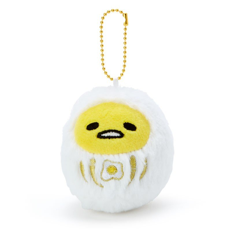 Gudetama Egg Plush Mascot Holder Keychain Daruma Fluffy Sanrio Japan 2019