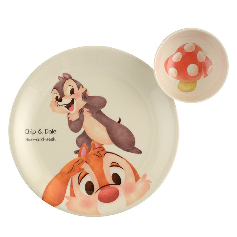 Chip & Dale Plate & Bowl Set Watercolor Disney Store Japan