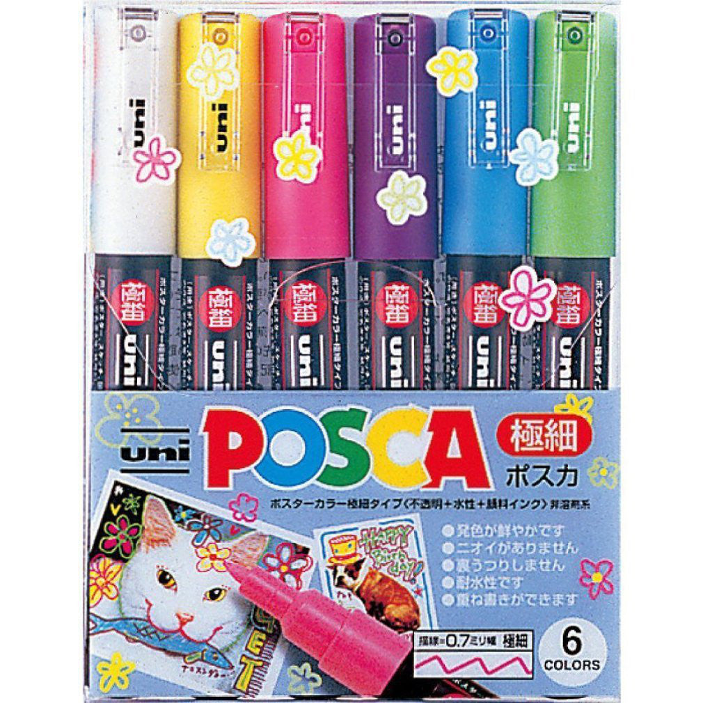 Uni POSCA Colour Markers PC1M6C 0.7mm extra-fine 6 Color Mitsubishi Japan