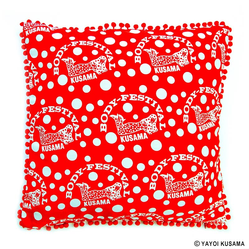Cushion BODY FESTIVAL Red White Yayoi Kusama Japan Artist Pumpkin