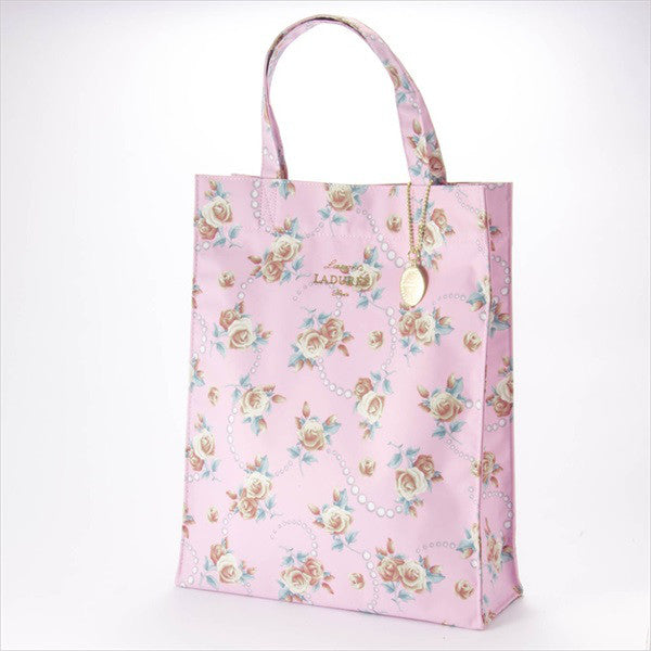 Tote Bag L Rose & Pearl Pink Laduree Japan