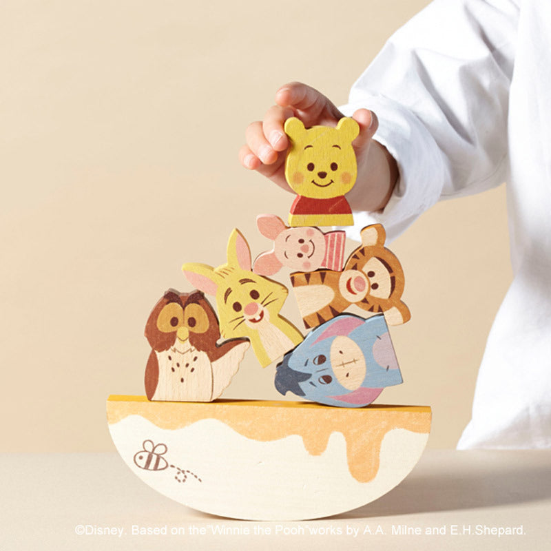 KIDEA Toy Wooden Blocks BALANCE GAME Winnie the Pooh Friends Disney Store Japan