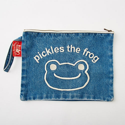 Pickles the Frog Denim Clutch Bag Face Embroidery Japan