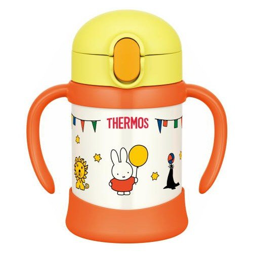 Miffy Stainless Training Straw Mug Cup 250ml Yellow Thermos Japan Baby