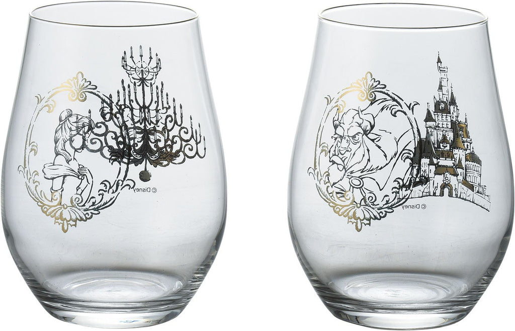Glass Cup Set D-BB03 51078 Beauty and the Beast Disney Japan