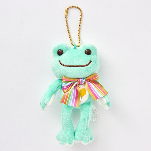 Pickles the Frog Plush Keychain Rainbow Color Ribbon Green Japan