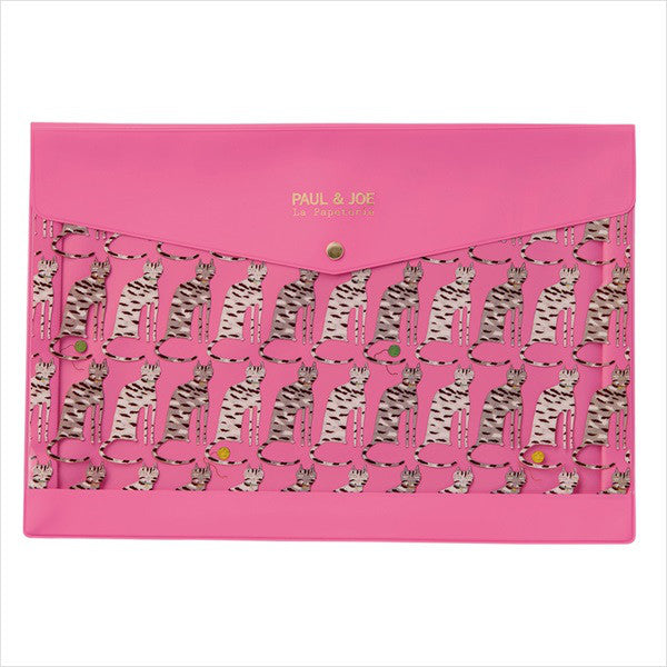 Stationary Case Pouch Drawing by Hand Cat Pink PAUL & JOE Japan