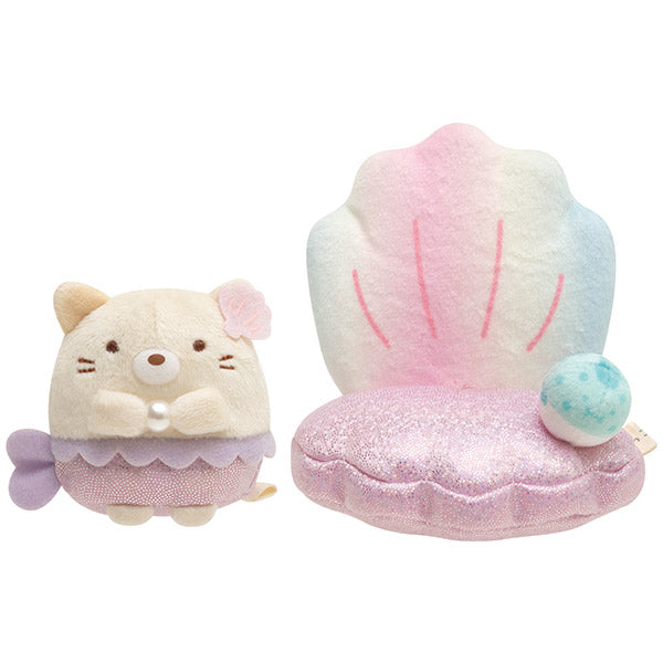 Sumikko Gurashi Neko Cat Mermaid Shell Chair mini Tenori Plush Doll San-X Japan