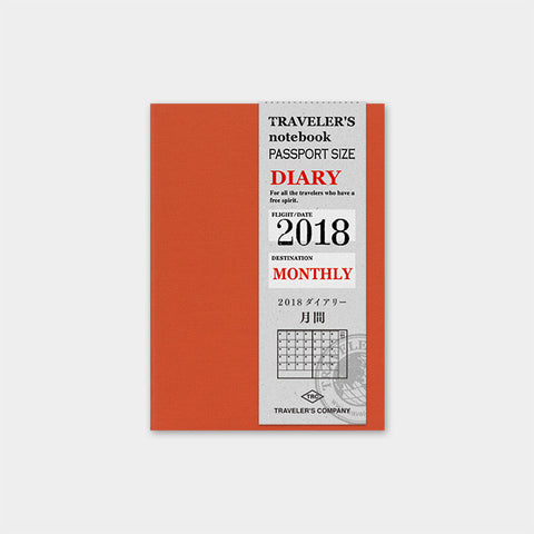 Refill Diary 2018 Monthly Passport size TRAVELER'S Notebook Japan