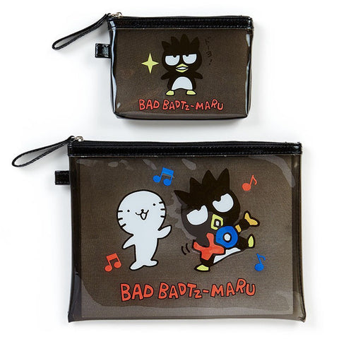 Bad Badtz-Maru PVC Flat Pouch Set Clear Sanrio Japan