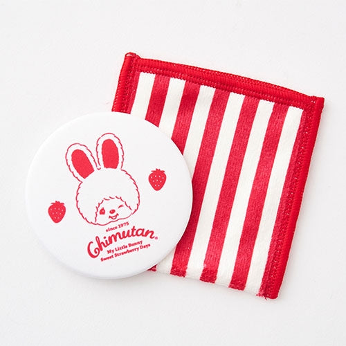 Chimutan Mirror with Cleaner Case Strawberry Stripe Monchhichi Japan 2019