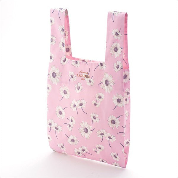 Shopping Eco Tote Bag w/ Pouch Flower Marguerite Pink Laduree Japan