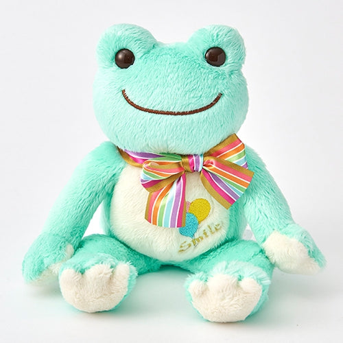 Pickles the Frog Bean Doll Plush Rainbow Color Ribbon Green Japan
