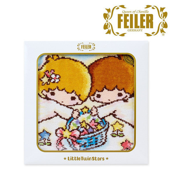 Little Twin Stars FEILER Chenille Weave Handkerchief Towel Flower Sanrio Japan