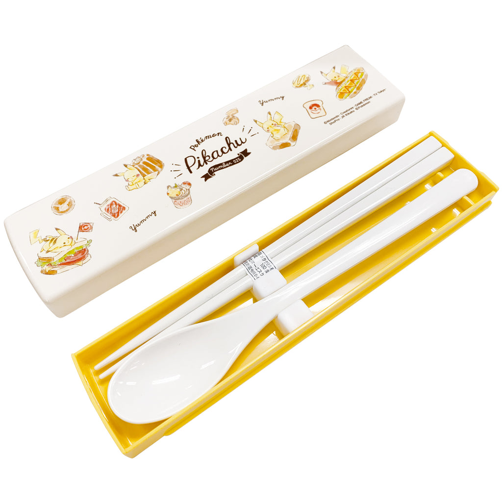 Lunch Combi Chopsticks Spoon Set Bread Pikachu number025 Pokemon Center Japan