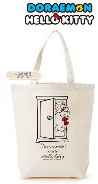 Doraemon x Hello Kitty Anywhere door Tote Bag M White Sanrio Japan