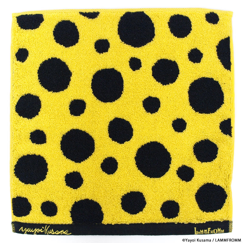 Yayoi Kusama Towel Handkerchief Yellow Black Japan Pumpkin Imabari