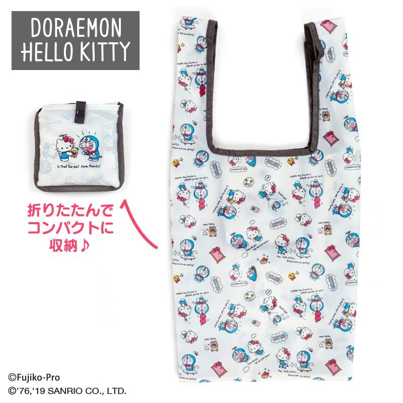Doraemon & Hello Kitty Eco Shopping Tote Bag Sanrio Japan 2019