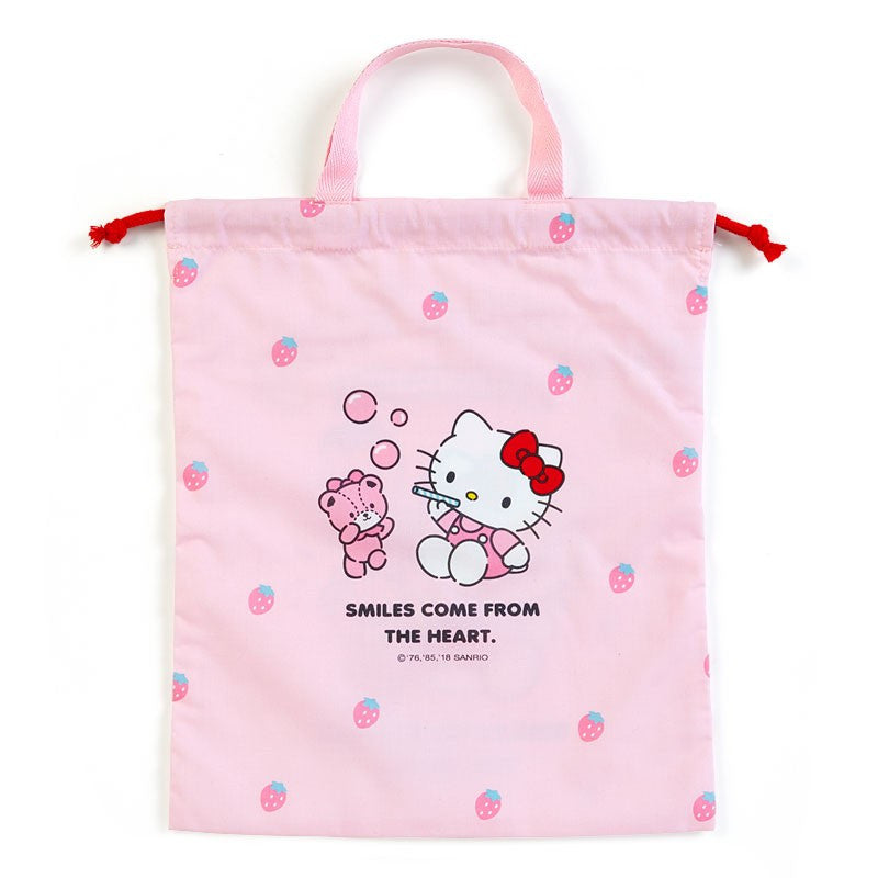 Hello Kitty Drawstring Pouch Strawberry with Handle Sanrio Japan ... dba9ec03e19be