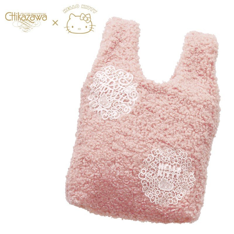 Hello Kitty Fluffy Tote Bag Chikazawa Lace Pink Sanrio Japan