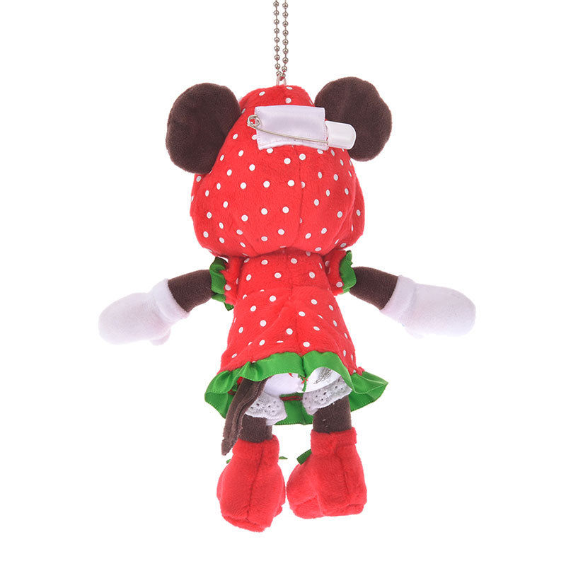 Minnie Plush Keychain Strawberry Ichigo Zakka Disney Store Japan