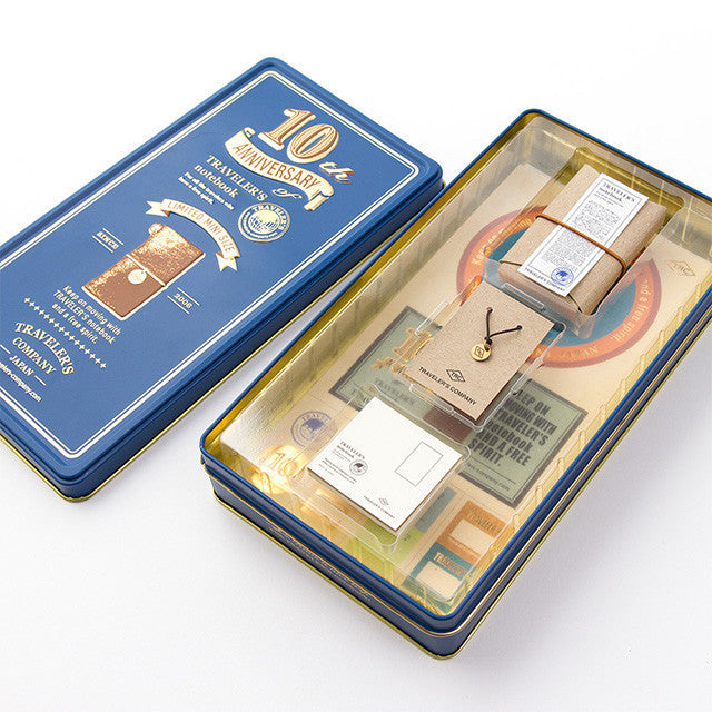 Traveler's Notebook mini 10th Anniversary Can Set Camel Blue