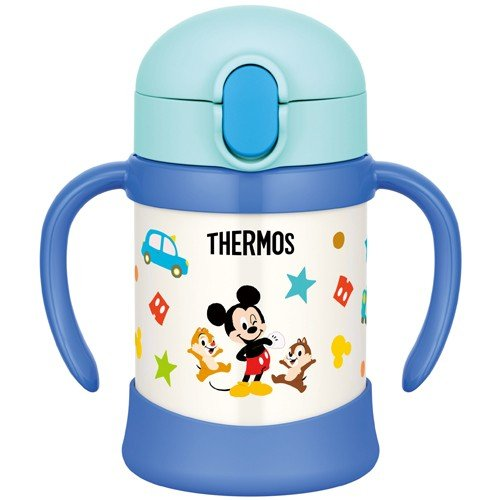 Mickey Stainless Training Straw Mug Cup 250ml Light Blue Thermos Japan Baby Kids