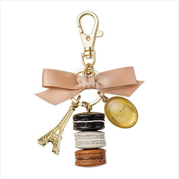 Bag Chain Keychain Macaron Eiffel Tower Liquorice Black Laduree Japan Round Box